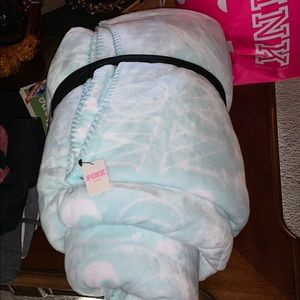 Pink Victoria's Secret Mint Green Sherpa Blanket